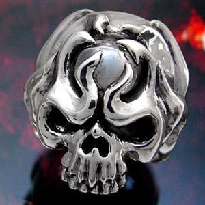 送料無料  シルバーアクセサリー シルバー925 リング 指輪 クォーツ 水晶 スカル 髑髏 骸骨 r0443|2pcs