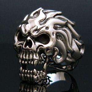 送料無料  シルバーアクセサリー シルバー925 リング 指輪 スカル 髑髏 骸骨 炎 ファイヤー r0444 2pcs