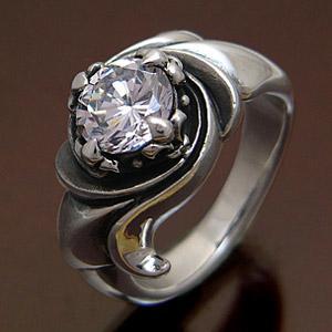 送料無料  シルバーアクセサリー シルバー925 リング・指輪 ジルコニア 渦 ユリの紋章 r0447|2pcs