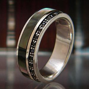 送料無料  シルバーアクセサリー 指輪・リング ペアアクセサリー ブラックシェル ブラックジルコニア r0455|2pcs