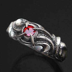 送料無料  シルバーアクセサリー リング・指輪 サラマンダー レッドジルコニア r0463 2pcs