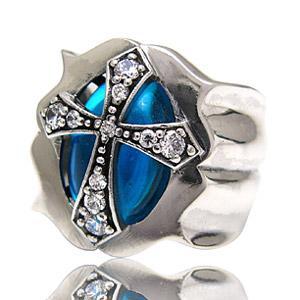メール便なら送料無料  シルバーアクセサリー シルバーリング 指輪 メンズ クロスリング ブルー・青...