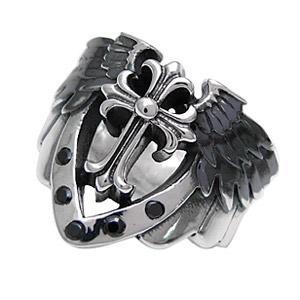 送料無料  シルバーアクセサリー 指輪・リング 羽根・翼 十字架・クロス ブラックジルコニア r0493|2pcs