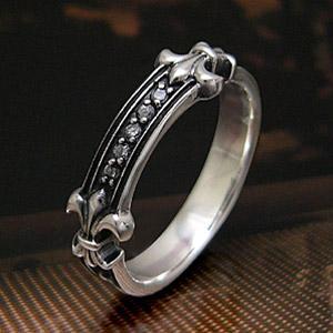 メール便なら送料無料  シルバーアクセサリー リング・指輪 フレア・リリー ジルコニア r0495|2pcs