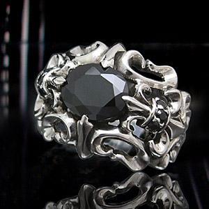 送料無料  シルバーアクセサリー シルバーリング 指輪 メンズ リング ユリの紋章 ブラックジルコニア r0501|2pcs