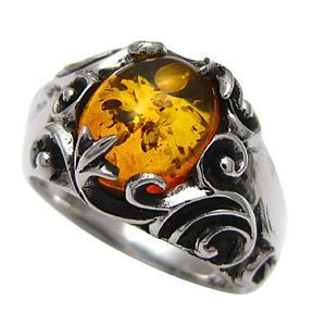 送料無料  メンズ 指輪 シルバーリング メンズリング 琥珀・アンバー r0503|2pcs