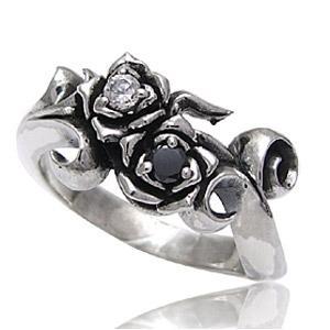 メール便なら送料無料  シルバーアクセサリー シルバーリング 指輪 メンズ リング 薔薇 ジルコニア r0515|2pcs