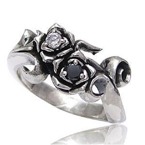 ペアリング 指輪 黒薔薇・白薔薇 r0515-pair ペアセット ギフトBOX付き 送料無料|2pcs