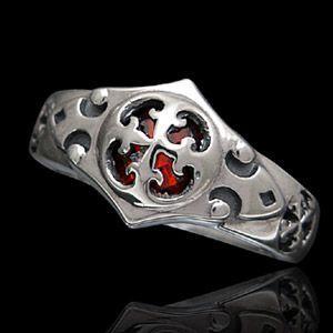 送料無料  シルバーアクセサリー シルバーリング 指輪 メンズ リング クロス ガーネット r0530|2pcs