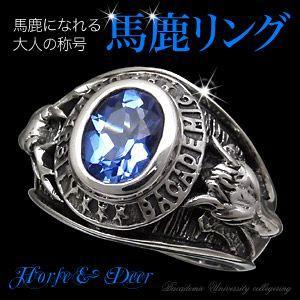 送料無料  カレッジリング シルバーリング メンズ 指輪 青・ブルー 馬 鹿 r0586|2pcs