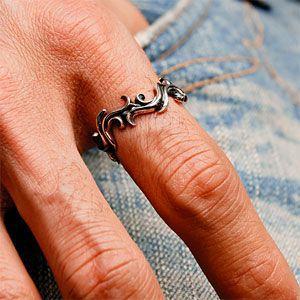 \メール便なら送料無料!/シルバーリング 指輪 シルバーアクセサリー メンズ アラベスク タトゥー r0590|2pcs|06