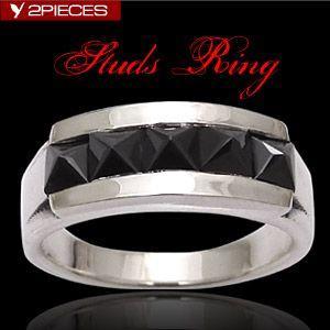 送料無料  シルバーアクセサリー シルバーリング 指輪 メンズ リング スタッズ ブラックジルコニア r0595 2pcs