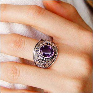 送料無料  カレッジリング シルバーリング シルバーアクセサリー 指輪 メンズ アレキサンドライト r0620|2pcs|06