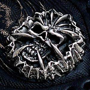 送料無料  シルバーアクセサリー 財布 サイフ コンチョ シルバー925 スカル ドクロ 骸骨 so0407|2pcs