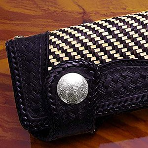 送料無料  財布 サイフ 牛革 編み込み バイカーズ 黒 ブラック 長財布 ウォレット so0425 2pcs