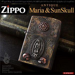 送料無料  ZIPPO ジッポ ライター シルバー アンティーク マリア スカル メンズ so0522|2pcs