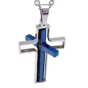 \メール便なら送料無料!/ステンレスアクセサリー ネックレス メンズ クロス 聖書 主の祈り ブルー・ブラック レイヤード spe0205 ペンダントトップのみ|2pcs|04