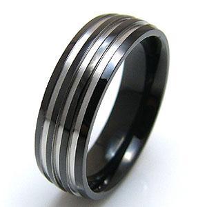 メール便なら送料無料  ステンレスアクセサリー 指輪・リング ステンレス ブラック ライン sr0071|2pcs