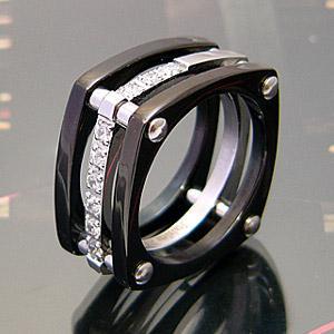 メール便なら送料無料  ステンレスアクセサリー 指輪 リング ブラックPVD 黒 ジルコニア メンズ sr0082 2pcs