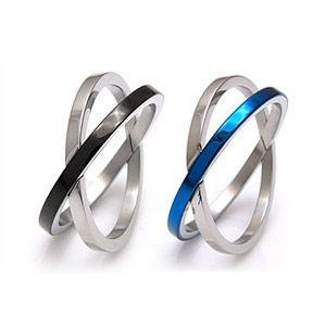 メール便なら送料無料  ステンレスアクセサリー リング・指輪 ブルー・青 ブラック・黒 sr0092|2pcs
