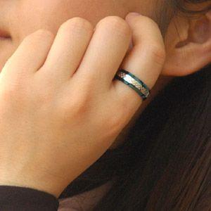 メール便なら送料無料  ステンレスアクセサリー リング・指輪 ブルー・青 ブラック・黒 sr0093 2pcs 03
