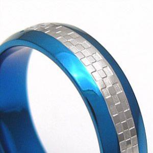 メール便なら送料無料  ステンレスアクセサリー リング・指輪 ブルー・青 ブラック・黒 sr0093 2pcs 04