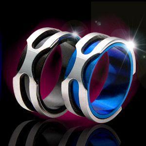 メール便なら送料無料  ステンレスアクセサリー リング・指輪 メンズ・レディース ブルー・ブラック sr0096|2pcs