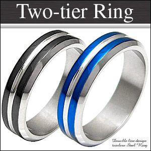 メール便なら送料無料  ステンレスアクセサリー リング・指輪 メンズ 青・ブルー 黒・ブラック ライン sr0098|2pcs