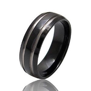 メール便なら送料無料  チタンアクセサリー リング・指輪 IPブラック・黒 tr0028|2pcs