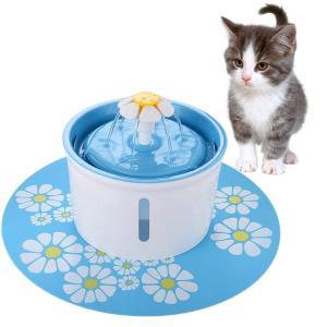 FONLAM ペット給水器 犬 猫 水量見え 自動給水器 循環式給水器 活性炭フィルター2枚付き 食事マット付き フラワーファウンテン 1.6L大容量 お留守番対応 犬用 猫|3-dia