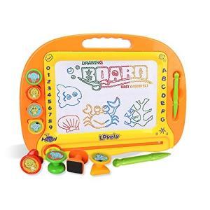 お絵かきボード 大画面(38*28cm) 子供おもちゃ 磁石ボード マグネットスタンプ 繰り返し描ける 3-dia