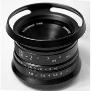 Hengyijia 25mm F1.8 黒色 単焦点レンズ Panasonic Olympus マニ...
