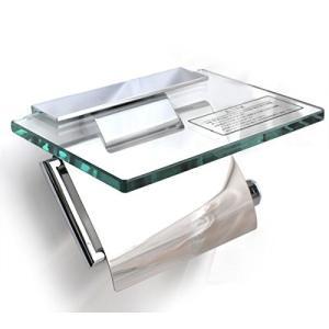 (新品未使用) KAWAJUN カワジュン ペーパーホルダー(紙巻器) ガラス棚付ペーパーホルダー ...