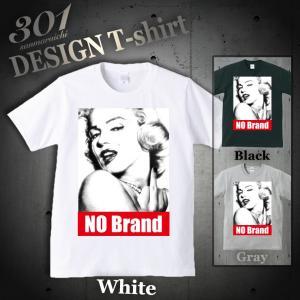 Tシャツ メンズ 半袖 ブランド ユニセックス NO BRAND マリリンモンロー FUCK BOXロゴ NO COMMENT PARIS パロディ  Uネック プリントTシャツ|301-shop