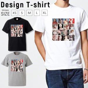Tシャツ メンズ 半袖 ブランド ユニセックス ペア マリリンモンロー レトロ コラージュ おしゃれ  Uネック プリントTシャツ|301-shop