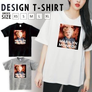 Tシャツ レディース 半袖 トップス ブランド ユニセックス メンズ プリントTシャツ ペア マリリンモンロー レトロ おしゃれ|301-shop