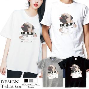 Tシャツ メンズ 半袖 ブランド ユニセックス  Uネック プリントTシャツ おしゃれ ペア パグ Pug 犬 映画 シネマPug 301-shop