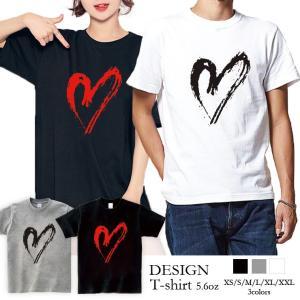 Tシャツ メンズ 半袖 ブランド ユニセックス  Uネック プリントTシャツ おしゃれ ペア カップル ハート ビッグワンポイント 可愛い 301-shop