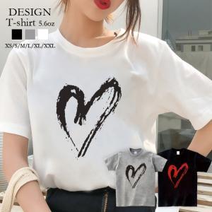 Tシャツ レディース 半袖 トップス ブランド ユニセックス メンズ プリントTシャツ ペア カップル ハート ビッグワンポイント 可愛い 301-shop
