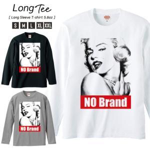 Tシャツ メンズ ロンT 長袖 ブランド Uネック NO BRAND マリリンモンロー FUCK BOXロゴ NO COMMENT PARIS パロディ|301-shop
