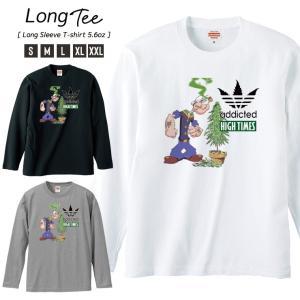 Tシャツ メンズ ロンT 長袖 ブランド Uネック HIGH TIMES addicted KUSH...