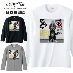 Tシャツ メンズ ロンT 長袖 Uネック Skateboard sk8 Funky ファンキーじいちゃん street ストリート スケボー|301-shop