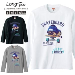 Tシャツ メンズ ロンT 長袖 Uネック Skateboard スケボー スケボー犬 パグ NY ニューヨーク ストリート|301-shop