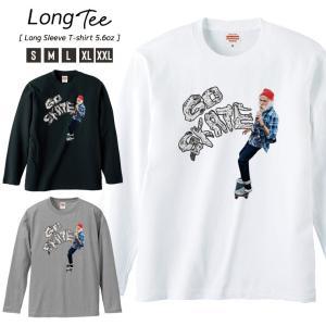 Tシャツ メンズ ロンT 長袖 Uネック GO SKATE Skateboard スケボー ファンキー ニューヨーク ストリート|301-shop