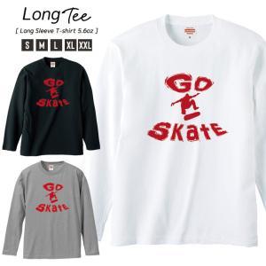 Tシャツ メンズ ロンT 長袖 Uネック GO SKATE Skateboard SK8 スケボー ニューヨーク ブルックリン ストリート|301-shop