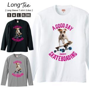 Tシャツ メンズ ロンT 長袖 Uネック Skateboard スケボー スケボー犬 Skate Dog NY ニューヨーク ストリート|301-shop