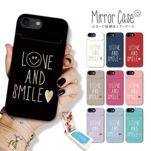 スマホケース アイフォン8 ケース iPhone XR X XS Max ケース 鏡付き ICカード収納 ミラー ケース スマイル ニコちゃん ペア LOVE SMILE お揃い|301-shop