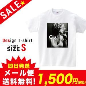 SALE Tシャツ 半袖 2019新作 ユニセックス レディース メンズ プリントTシャツ セール セクシーガール Cig タバコ ホワイト S 301-shop