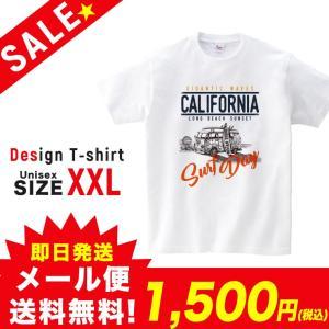 SALE Tシャツ 半袖 2019新作 ユニセックス レディース メンズ プリントTシャツ セール カリフォルニア ロゴ 夏 サーフバス ホワイト XXL 301-shop