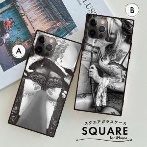 スクエアシルエットのケースに高彩度のデザインプリントを施しました。  背面は硬度9Hの強化ガラスでカ...